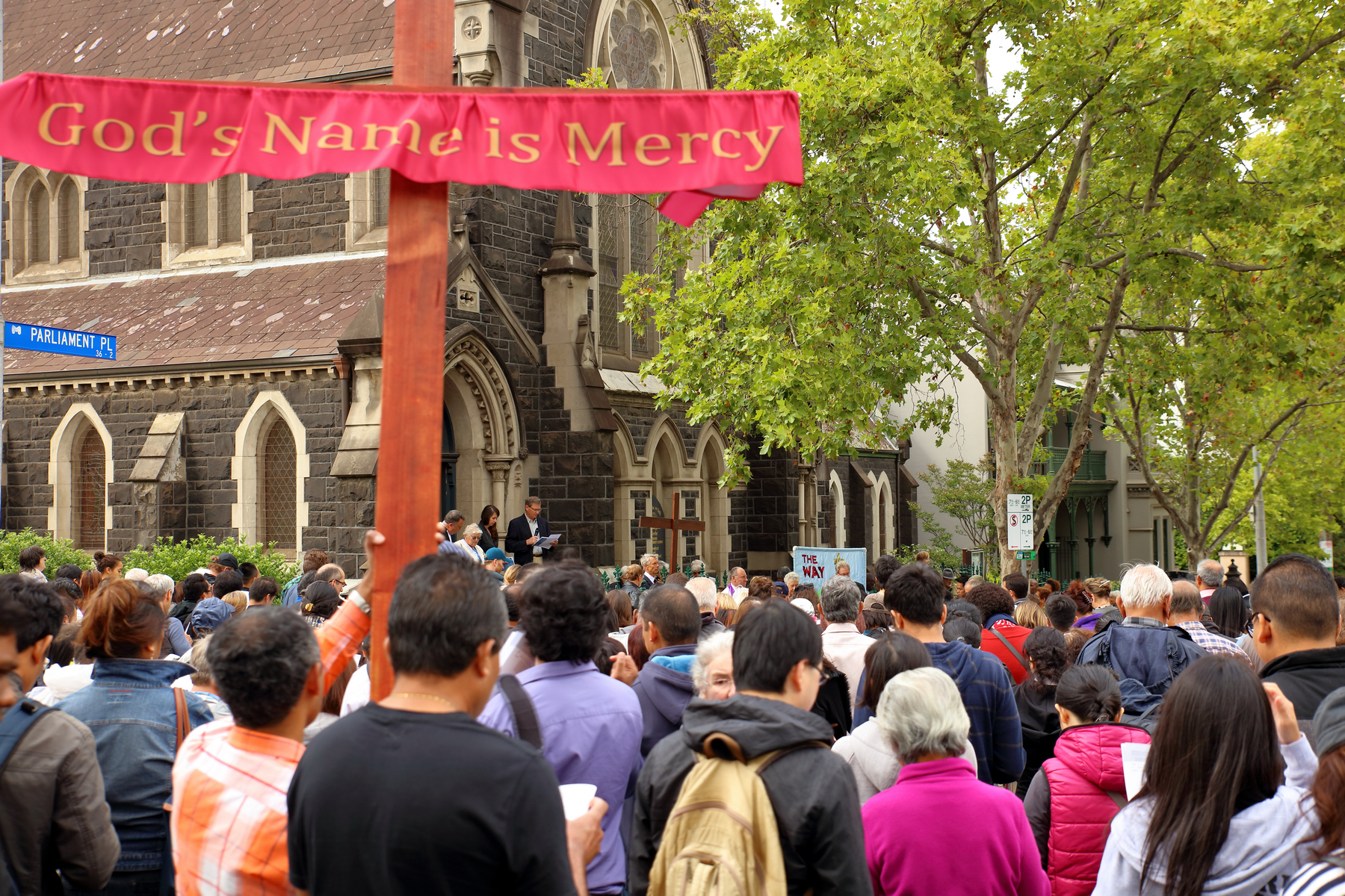 MCCIA Melbourne City Churches in Action Way of the Cross crowd at German Lutheran Trinity Church East Melbourne