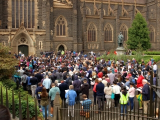 Melbourne City Churches in Action Way of the Cross crowd at Saint Patrick's Cathedral Melbourne