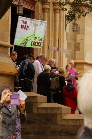 Melbourne City Churches in Action Way of the Cross at Saint Paul's Anglican Cathedral Melbourne Easter 2016