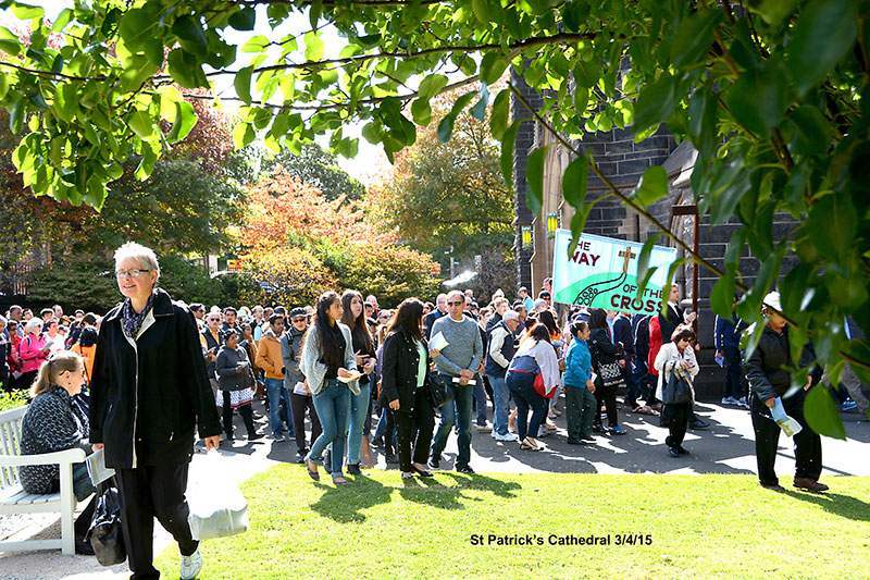 The banner and crowd framed by trees for the Way of the Cross Good Friday 2015 at St Patrick's Catholic Cathedral