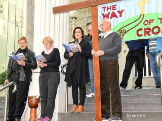 Reverend Carolyn Francis reads the liturgy for the eleventh station at Collins Street Baptist Church Melbourne Easter 2015
