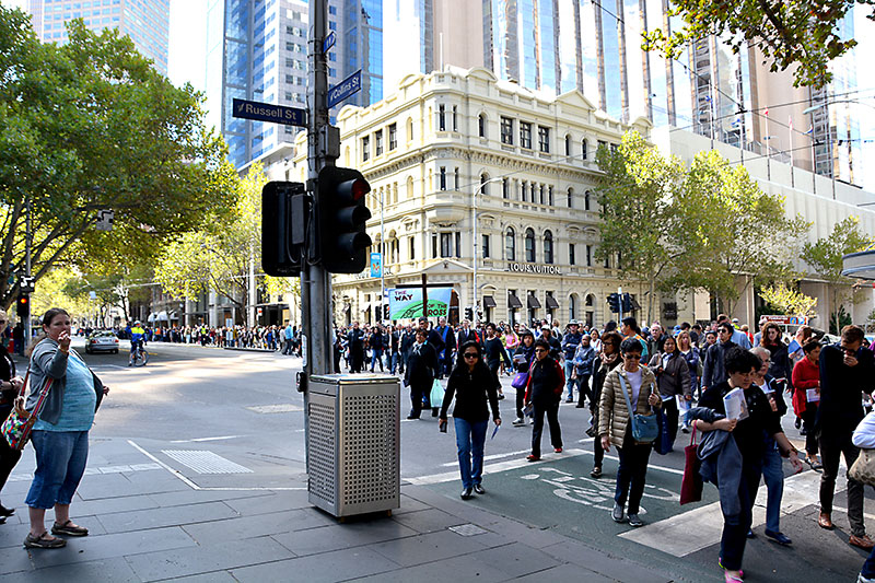 Way of the Cross 2015 in Collins Street crossing Russell Street